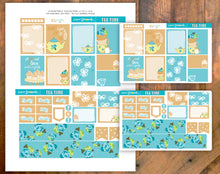 Tea Time Printable Stickers Blue and Brown - Boxes sized for EC Vertical
