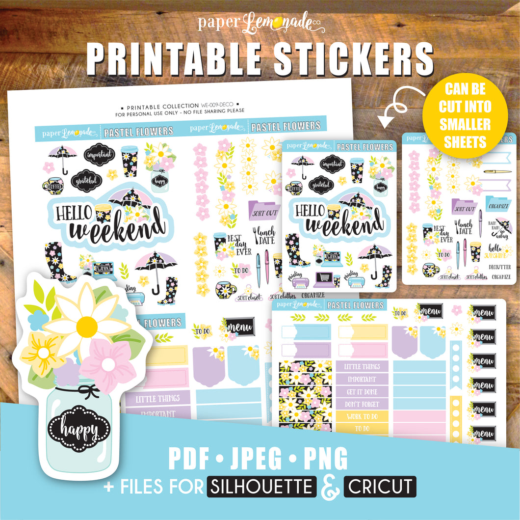 Pastel Flower Printable Stickers - Deco Sheet