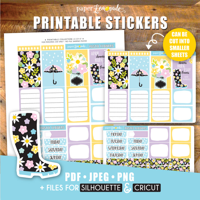 Pastel Flower Printable Stickers - HP Sheet