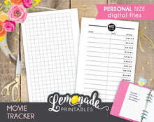 Movie printable Planner Inserts Personal size