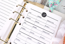 Checkbook register printable Planner Insert personal size