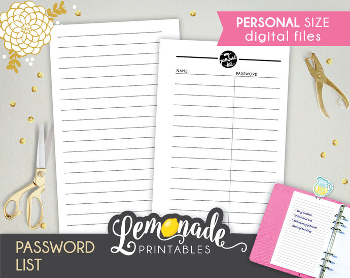 Printable Password Planner Insert personal size