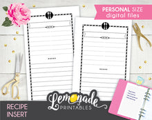 Recipe Printable Planner Insert Personal planner