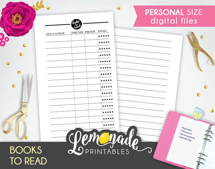 Book printable Planner Insert Books To Read personal size