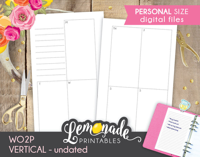 Weekly printable planner inserts WO2P Undated Vertical Planner Inserts Personal Size
