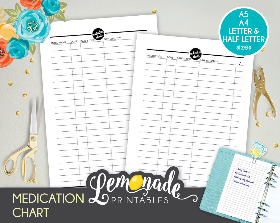 Medication printable planner insert A5 A4 Letter Half Letter