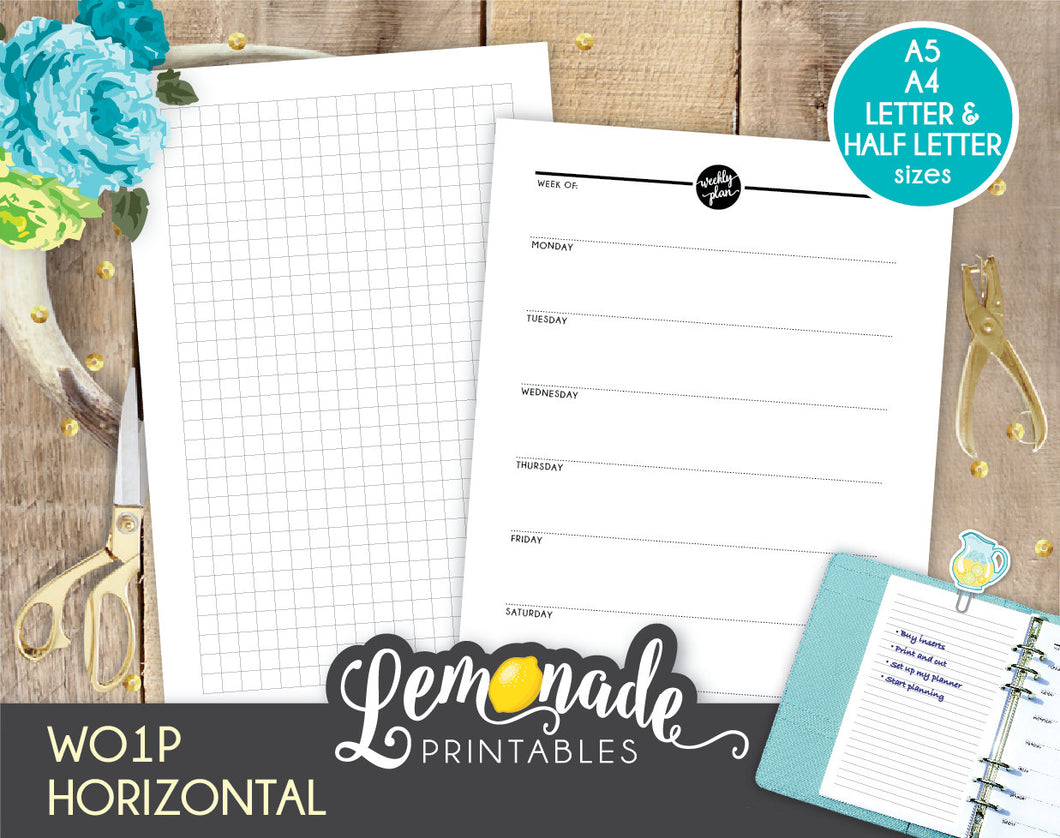 Weekly Horizontal Printable Planner Insert UNDATED Printable Weekly plan