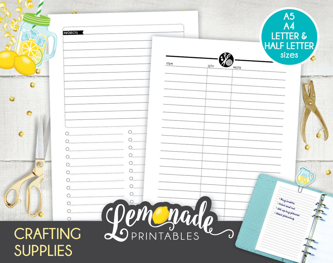 Craft Supplies Printable Planner Insert A5 A4 Letter and Half Letter Craft Project Tracker