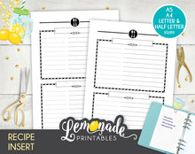 Recipe Printable Planner Inserts recipe sheets A5 A4 Letter and Half Letter