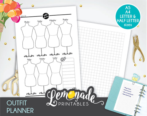 Outfit Planner Printable Insert A5 Wardrobe planning
