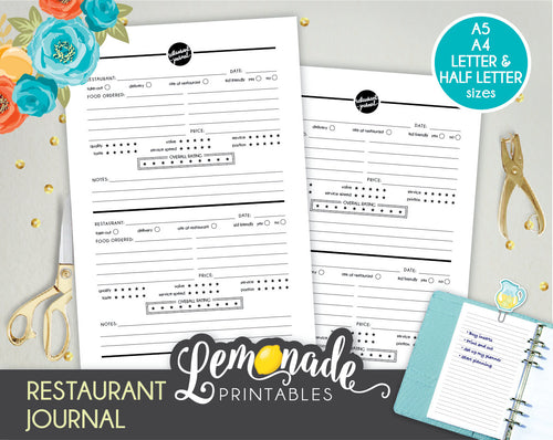 Restaurant Journal Printable Planner Inserts A5 A4 Letter and Half Letter Restaurant notes