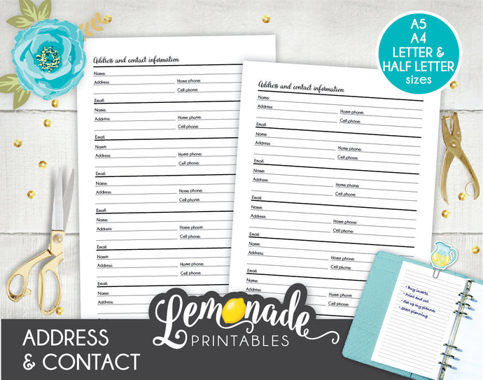 Address and Contact Information Keeper Printable Planner Insert A5 A4 Letter and Half Letter