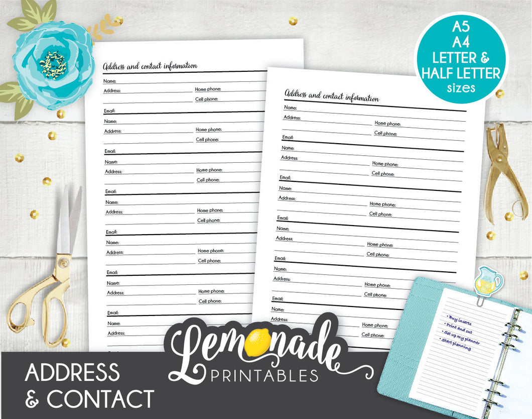 picture regarding Printable Contact Paper identify Protect and Get in touch with Articles Keeper Printable Planner