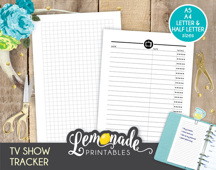 TV Show Printable Planner Insert A5 half letter favourite show tracker