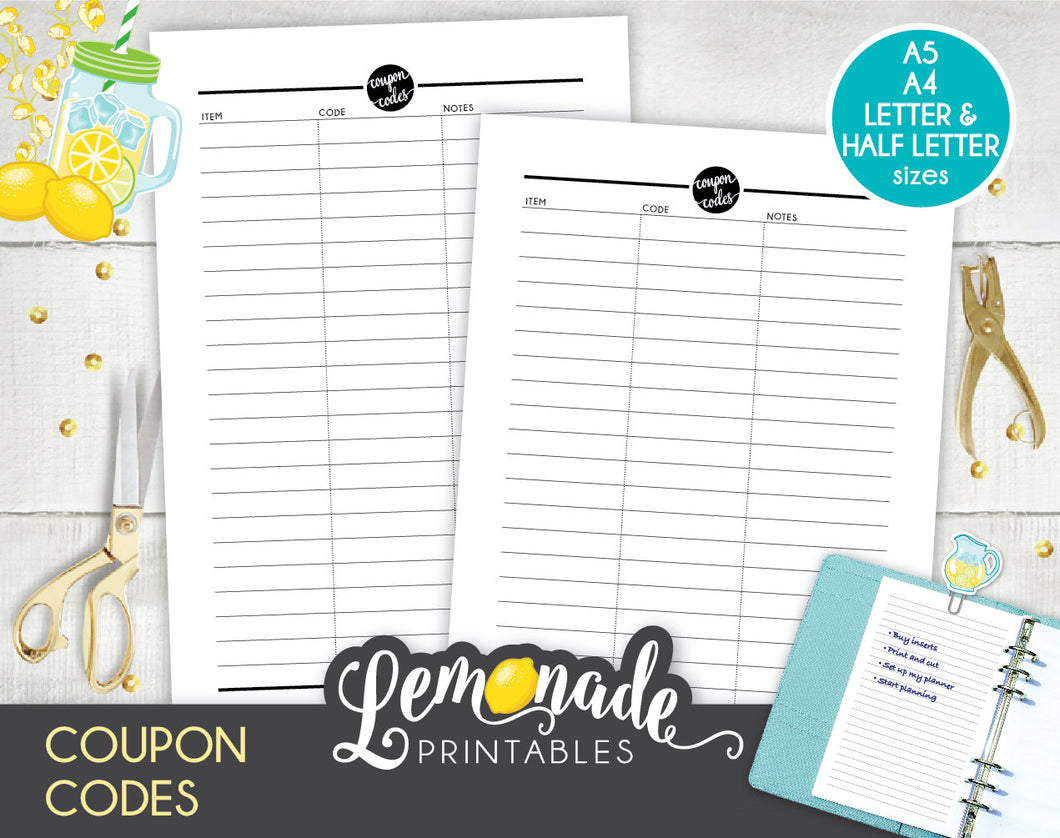 Coupon Planner Printable Insert Printable coupon code A5 A4 Letter and Half Letter