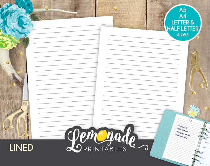 Lined printable planner insert A5 A4 Letter Half letter Classic lined printable insert