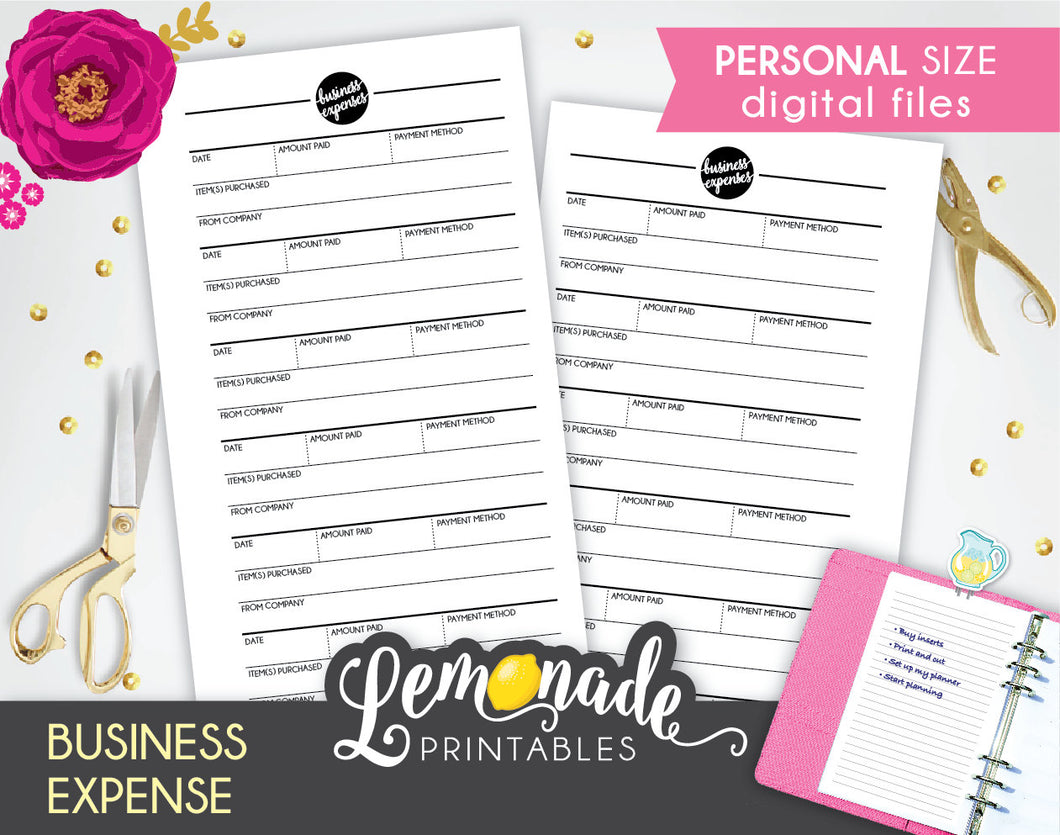Business Expense printable Planner Insert personal size