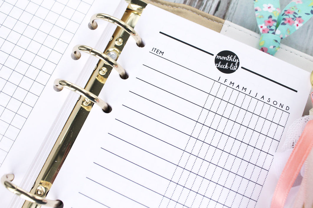 monthly checklist printable planner insert personal size task