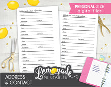 Address printable Planner Insert personal size contact information tracker