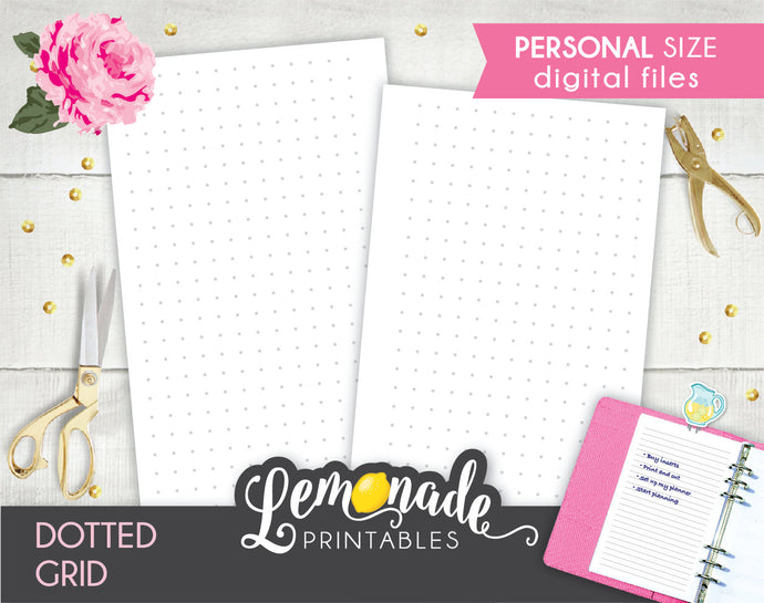 Dotted grid printable Planner Insert personal size