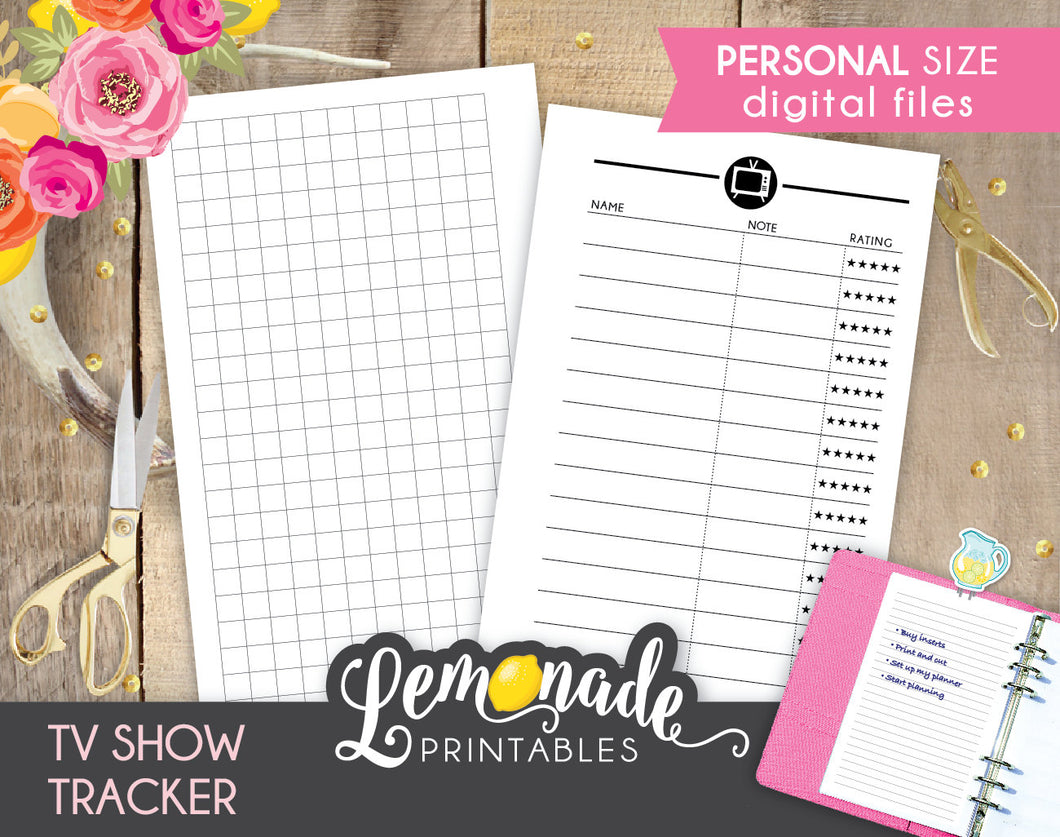 TV Printable Planner Insert Personal Size Show Tracker
