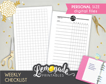 Weekly Checklist Printable Planner Insert Personal Size