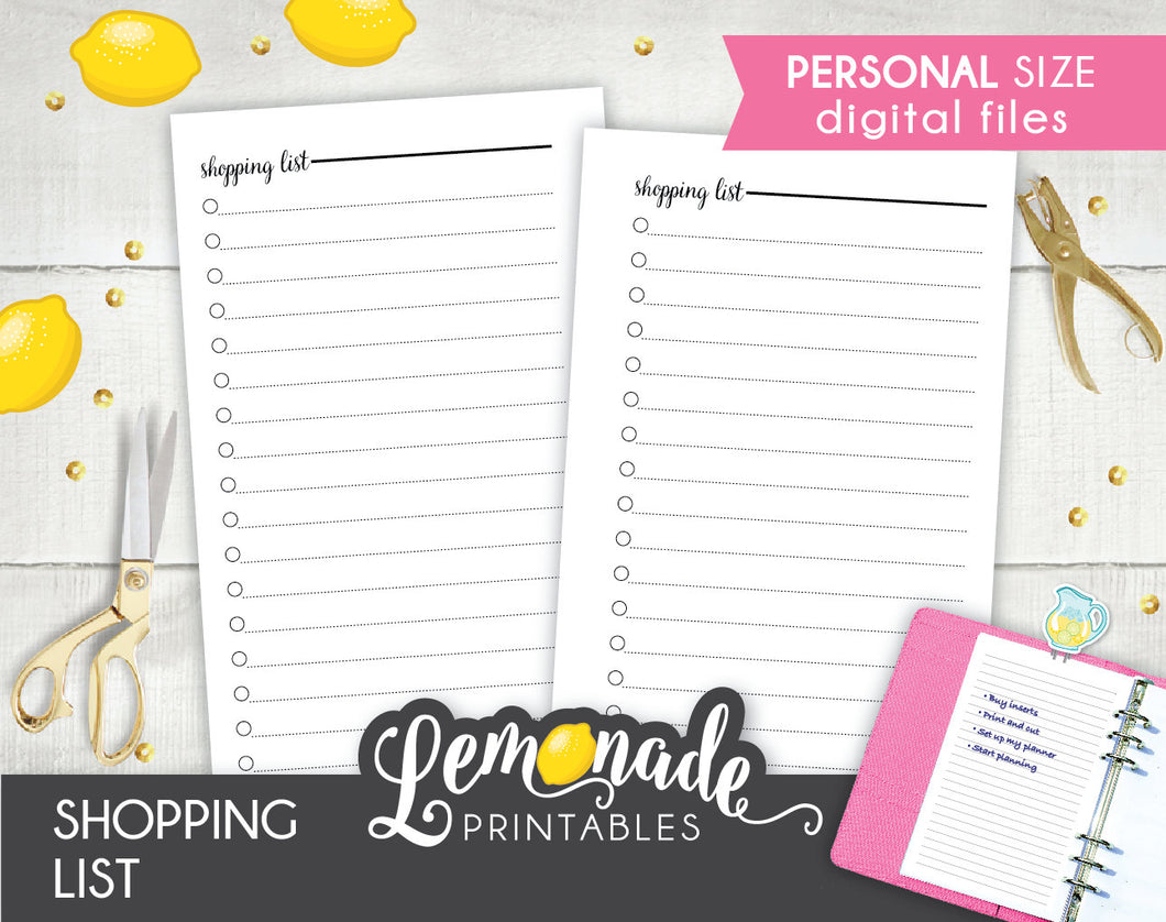 Shopping List printable planner Inserts personal size