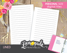 Lined printable planner insert personal size Lined Pages