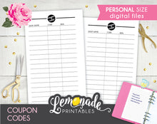 Coupon printable Planner Insert personal size coupon code tracker
