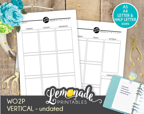 Weekly Printable Planner vertical planner Insert A5 A4 Letter and Half Letter