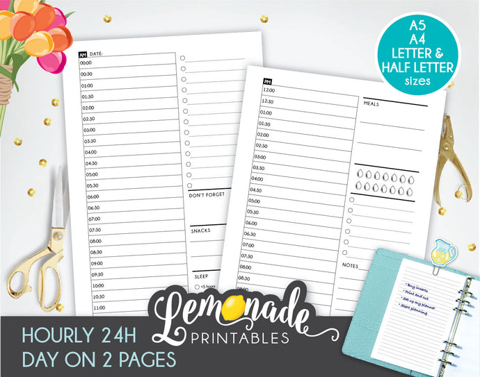 Hourly Planner Printable Insert Printable 24 hours Day on 2 page A5 A4 Letter and Half Letter