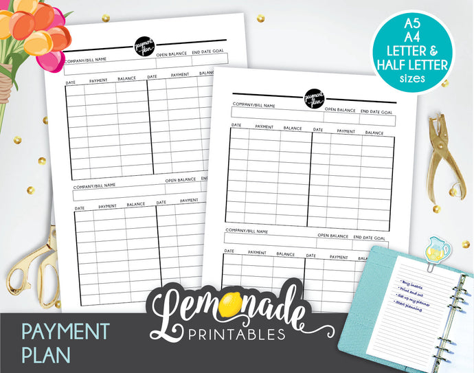 Payment Printable Planner Insert A5 A4 Half Letter and Letter Payment Tracker