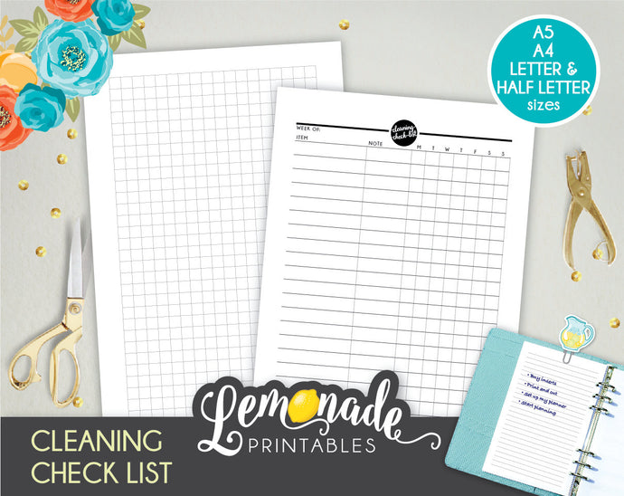 Cleaning Printable Planner Insert A5 A4 Letter and Half Letter chore tracker