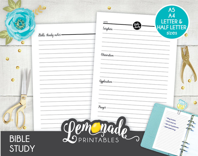 Bible Study Printable Planner Insert A5 A4 Letter and Half Letter