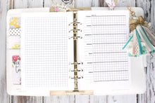 Weekly Printable Horizontal Planner Insert undated with grid A5 A4 Letter and Half Letter