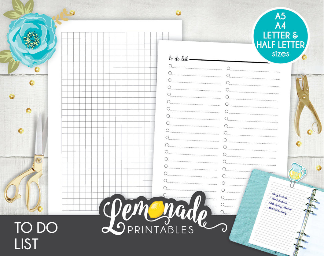 To do list Printable Planner Insert A5 A4 Letter and half letter