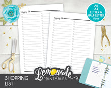 Shopping list Printable Planner Insert A5 A4 Letter and Half Letter