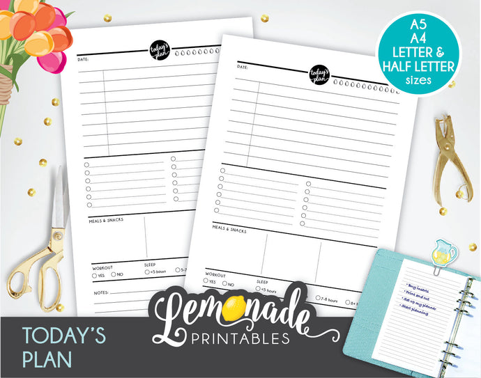 Daily Planner Printable Insert A5 A4 Letter and Half Letter