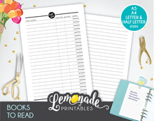 Book Printable Planner Insert Printable A5 A4 Letter and Half Letter Book tracker