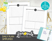 Daily Planner Simplified Printable Insert A5 A4 Letter and Half Letter