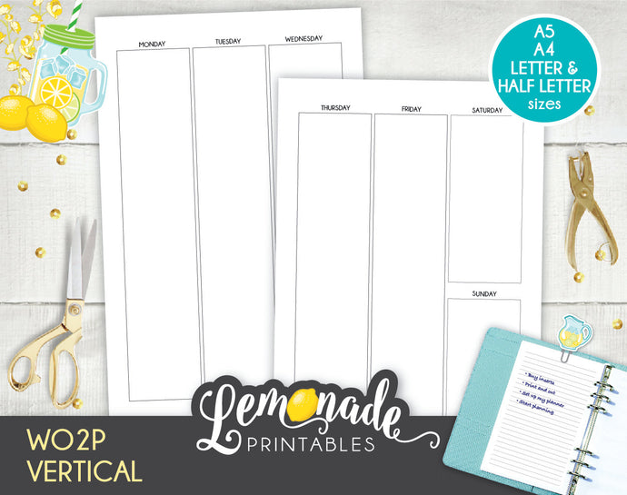 Printable Undated Vertical Weekly Planner Insert WO2P A5 Half Letter A4