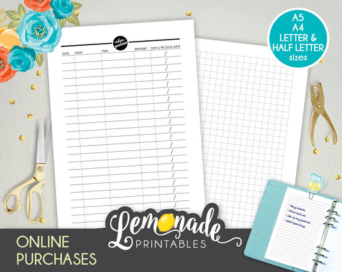 Online Purchase Printable Planner Insert A5 A4 Letter and Half Letter
