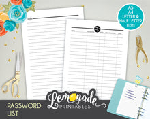 Password Printable Planner Insert Printable Password List A5 A4 Half Letter