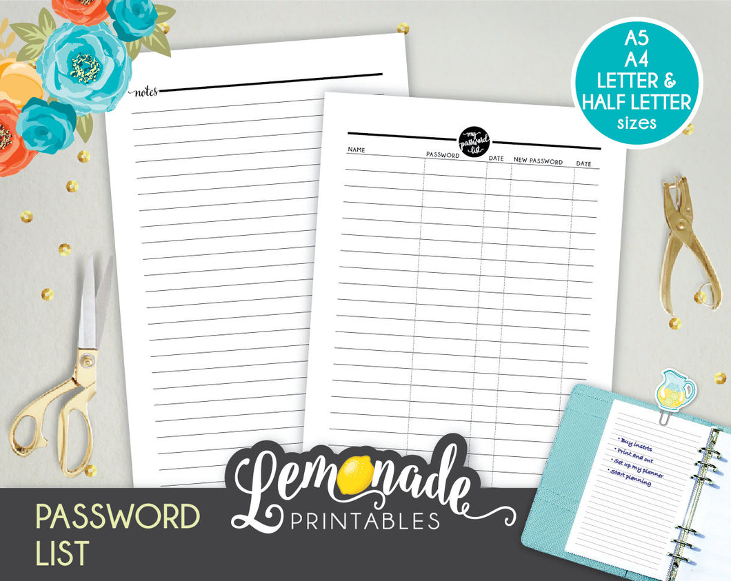 image about Password List Printable called Pword Printable Planner Increase Printable Pword Record A5