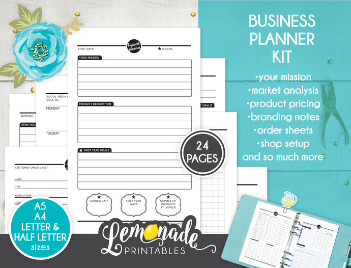 Business Planner Printable Insert Set A5 A4 Letter and Half Letter