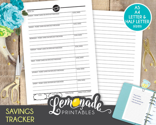 Savings Printable Planner A5 A4 Letter and Half Letter Insert money tracker