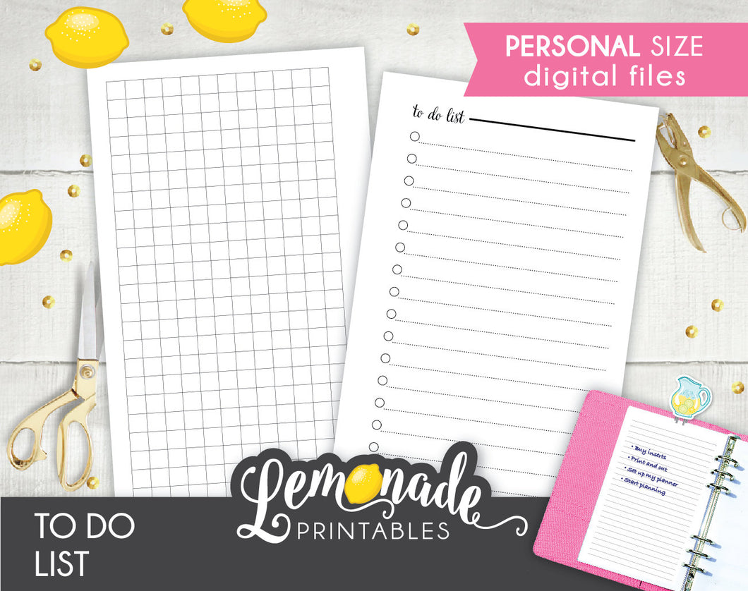 To do list printable Planner Insert personal size
