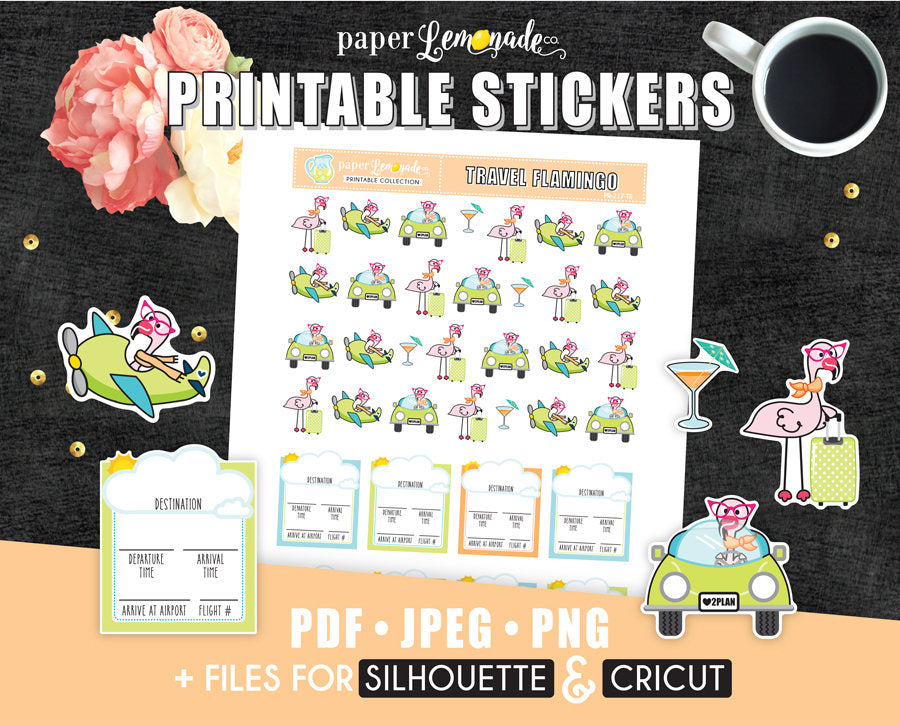 Printable Stickers Travel stickers Printable flight tracker flamingo PR-217