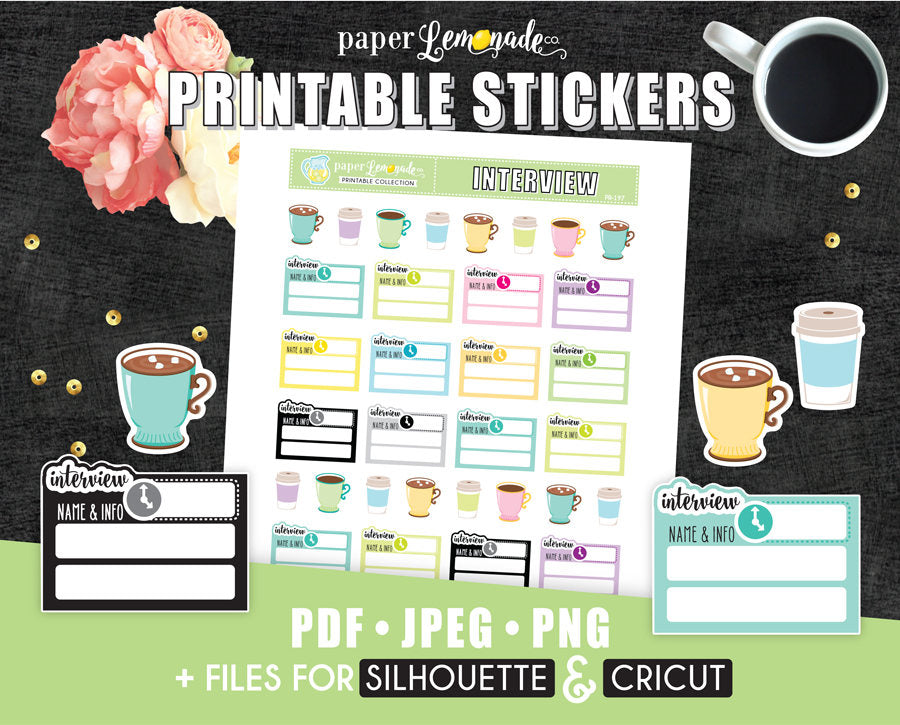 Interview Printable Stickers Job Hunting printable stickers