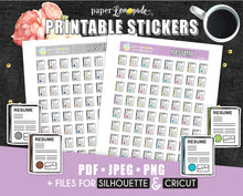 Resume Printable Stickers Job Hunting printable CV stickers filofax PR-196